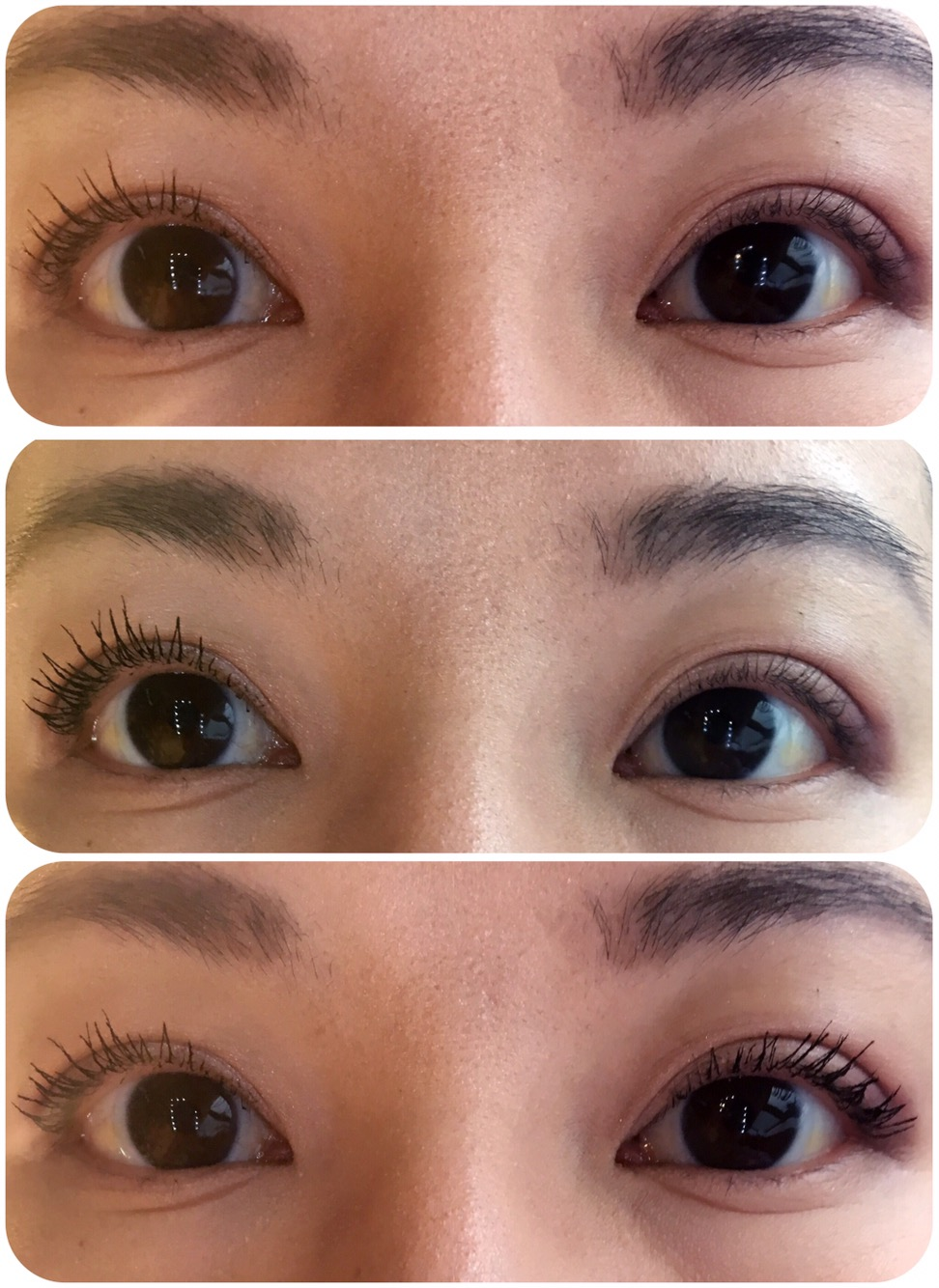f4cc6b8e22e Top: 1 coat and natural lashes. Middle: 2 coats and natural lashes. Bottom:  2 coats to both eyes.